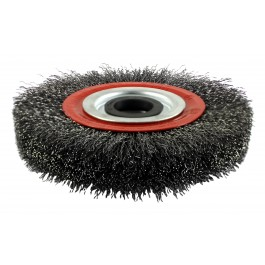 Crimped Wheel Brush With Plastic Reducer - Steel Wire