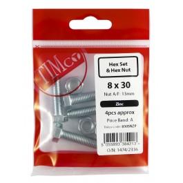 High Tensile Set Bolt & Nut – Zinc Pack (DIN933)