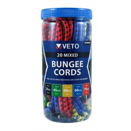 Mixed Bungee Cords - 20 Pack