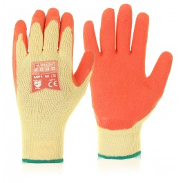 Orange Latex Grip Safety Work Gloves - Large