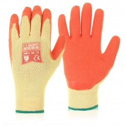 Orange Latex Grip Safety Work Gloves - Large